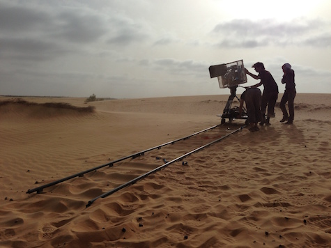the team filming in the desert