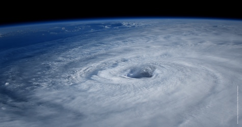 eye of the hurricane seen from outer space