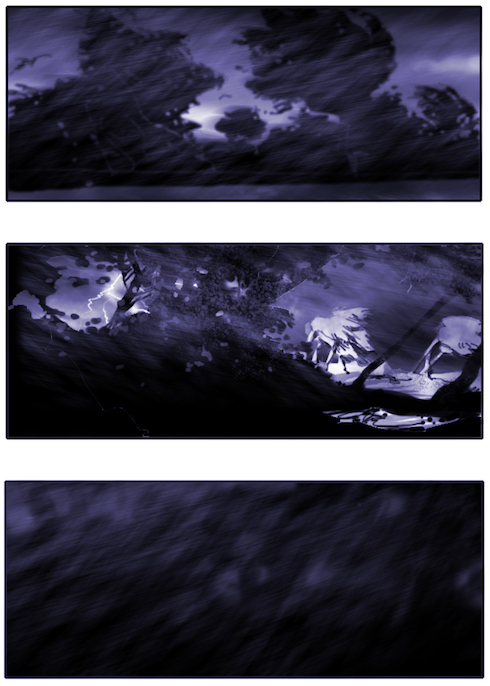 storyboard showing a storm la tempête blowing hard on the forest