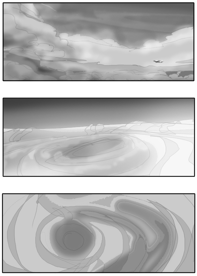 storyboard showing the hurricane and its eye